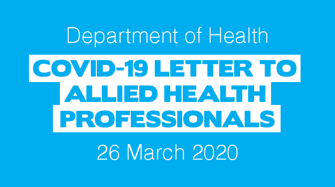 Department of Health: COVID-19 Letter to Allied Health Professionals